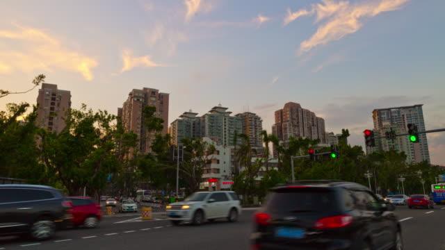 sunset time zhuhai city traffic street crossroad panorama 4k time lapse china - zhuhai video stock e b–roll
