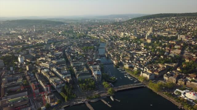 sunset time zurich city center river aerial panorama 4k switzerland
