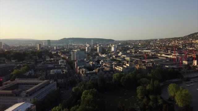 sunset time zurich city lakeside aerial panorama 4k switzerland