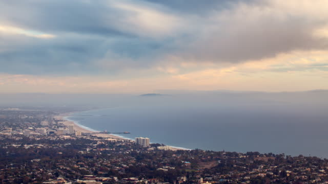 Sunset To Night Time-lapse With Clouds Rolling Over The Santa Monica Bay, Los Angeles County, California video