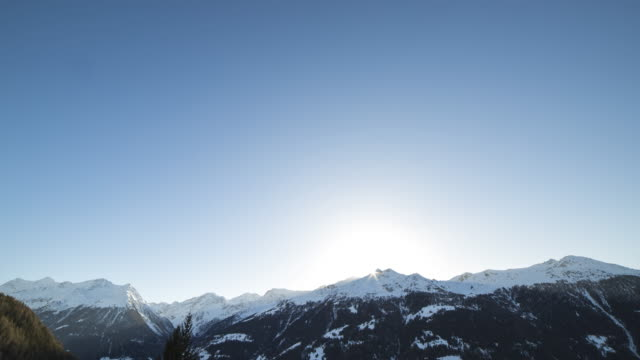 Sunset to sunrise Swiss alps time lapse video