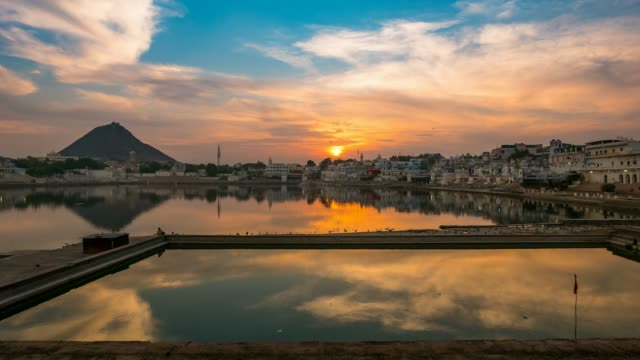 Sunset to twilight time lapse at Pushkar, Rajasthan, India video