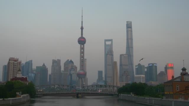 sunset twilight shanghai cityscape downtown bridge bay panorama 4k china video