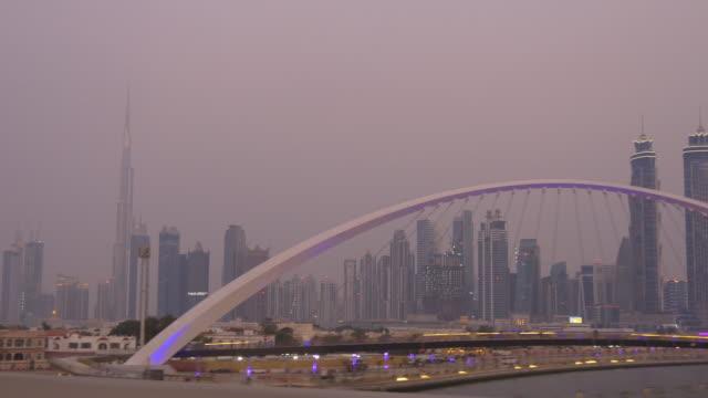 sunset twilight sky al wasl road trip dubai canal downtown  4k united arab emirates video