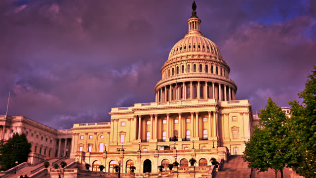 Sunset. United States Capitol. Exciting Conceptual view.