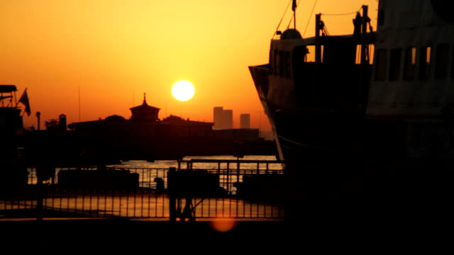 Sunset Sunset in Istanbul seaport daylight savings stock videos & royalty-free footage