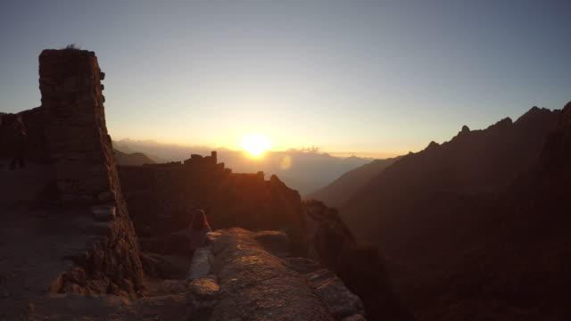Sunset view from an Inca ruin, Inca trail, Machu Picchu, Peru video