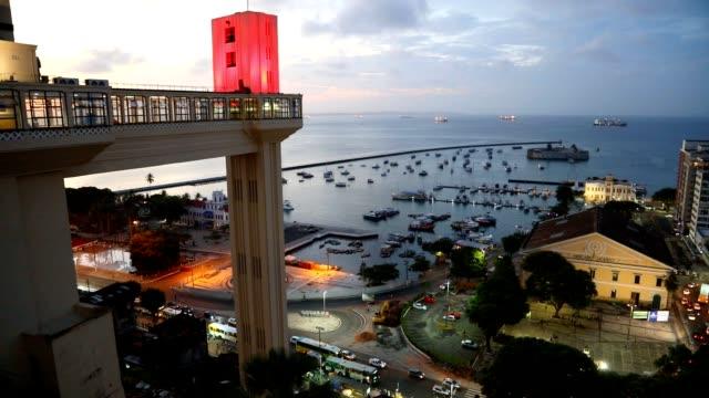 vídeos y material grabado en eventos de stock de vista del atardecer de salvador de la ciudad de bahía, brasil - bahía