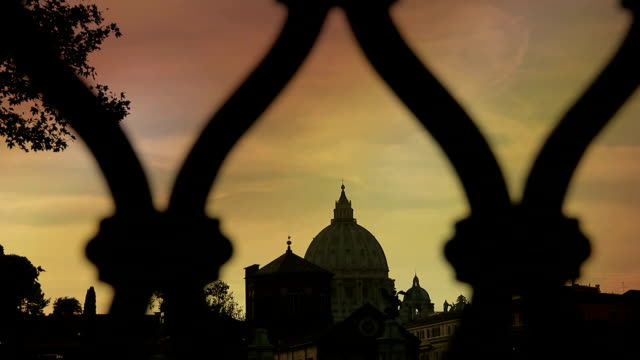 Sunset Views Of St. Peter's dome In Rome from a bridge: Vatican, Christianity video