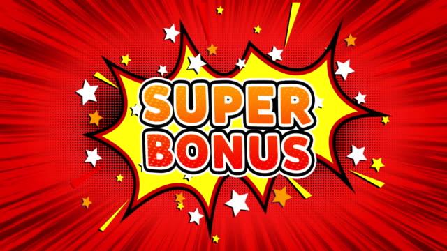 super bonus text pop art style comic expression. - bonus video stock e b–roll