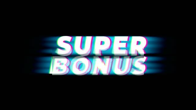 super bonus text vintage glitch effect promotion. - bonus video stock e b–roll