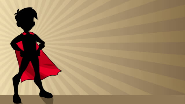 Super Boy Ray Light Silhouette Seamless looping animation with silhouette of super hero boy wearing cape against ray light background for copy space. cape garment stock videos & royalty-free footage