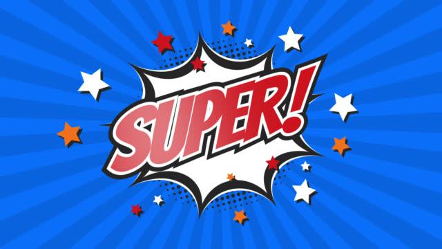 super - comic pop art text video 4k, chroma key version included. - pop art video stock e b–roll