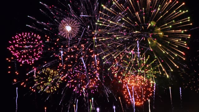 super firework, audio included - giorno dell'indipendenza video stock e b–roll