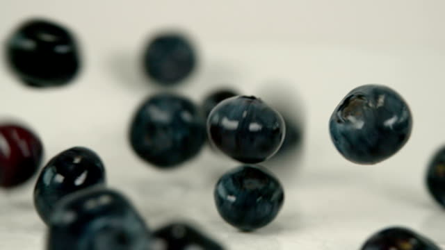 Super food blueberry  fruit in slow motion video