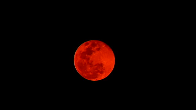 Super full moon in the black sky, Red full moon from dust PM 2.5 used for halloween night concept.