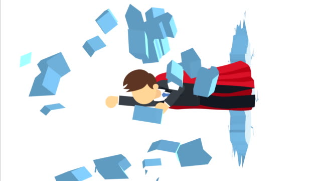 Super Hero business man breaking the wall. Freedom and challenge concept. Loop illustration in flat style. Business loop animation in flat style cape garment stock videos & royalty-free footage