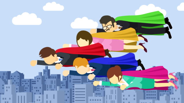 Super Hero business team flying in suit and red cape. Leadership and achievement concept. Loop illustration in flat style.