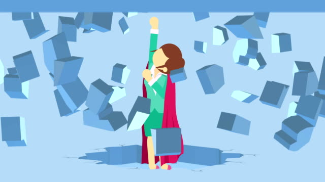 Super Hero business woman breaking the wall. Freedom and challenge concept. Loop illustration in flat style.