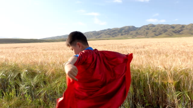 Super hero spinning beside wheat fields