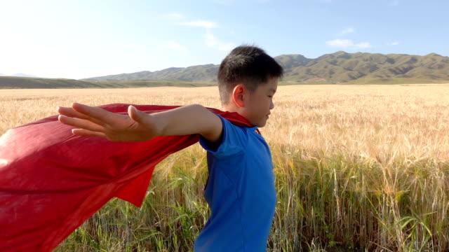 Super hero standing beside wheat fields Super hero standing beside wheat fields cape garment stock videos & royalty-free footage