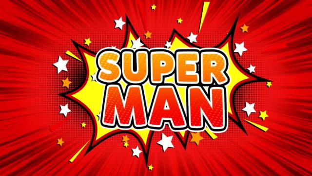 super man text pop art stil komiska uttryck. - superhjälte isolated bildbanksvideor och videomaterial från bakom kulisserna