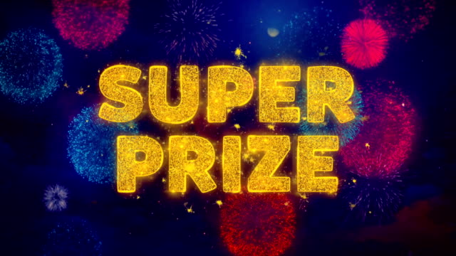 super prize text on colorful firework explosion particles. - badge video stock e b–roll