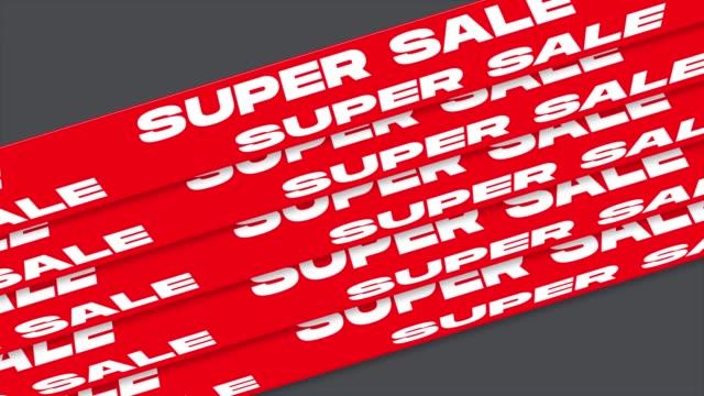 super-verkauf wort animation bewegung grafik-video. promo-banner, aufkleber, mit alpha channel transparenten hintergrund - aufkleber stock-videos und b-roll-filmmaterial