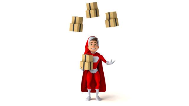 super weihnachtsmann - 3d animation - nikolaus stiefel stock-videos und b-roll-filmmaterial