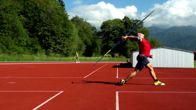 HD: Super Slo-Mo Shot of Young Man Throwing Javelin video