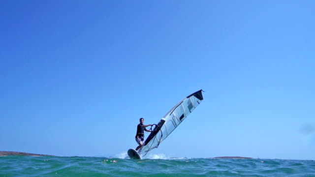 HD: Super Slo-Mo Shot of Young Man Windsurfing video