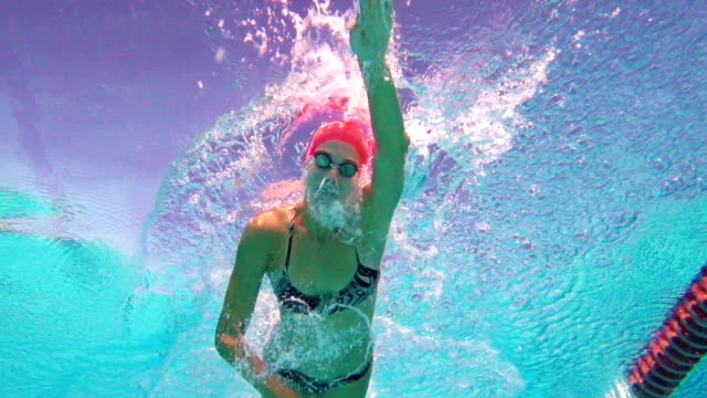 HD Super Slo-Mo: Underwater Shot of  Women Swimming Front Crawl video