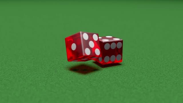 super slow motion dice on felt craps game gambling - feltro video stock e b–roll
