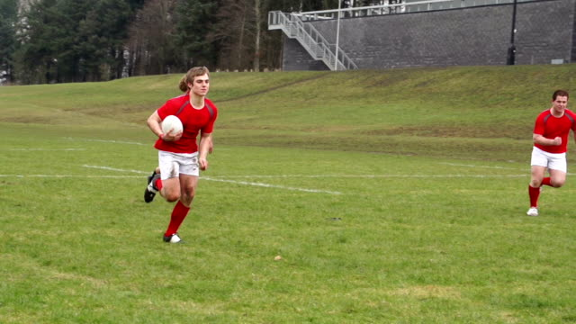 Super Slow Motion HD - Rugby Match, Players Scoring try video