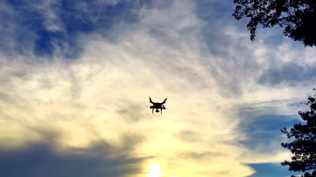 Super Slow motion HD:Camera drone flying at sunset. video