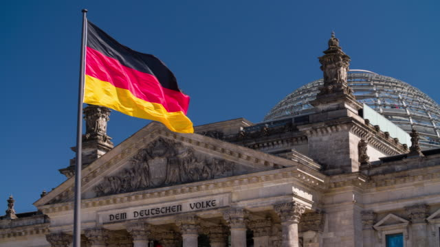 Super Slow motion of German Flag in front of Reichstag building video