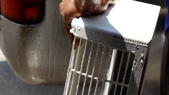 Super Slow Motion Of one worker cleaning path of air conditioner. video