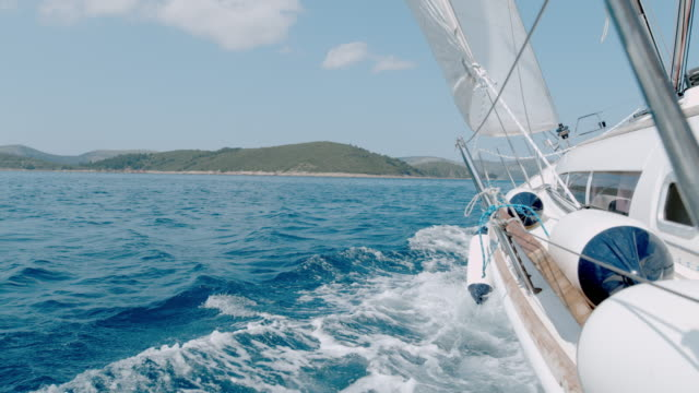 MS Super slow motion sailboat moving along sunny blue ocean,Croatia Super slow motion sailboat moving along sunny blue ocean,Croatia. MS,slow motion. less than 10 seconds stock videos & royalty-free footage