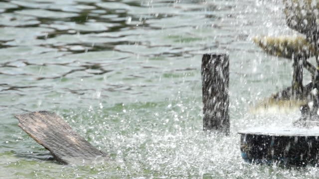 Super Slow Motion shot Watermill for Water Treatment video