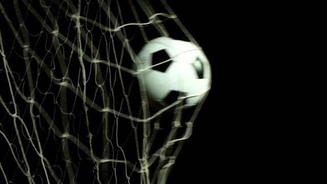 Super Slow Motion, Soccer ball scoring goal (Football net) Stock HD video clip footage of a Soccer ball / Football hitting the back of the goal - Filmed at 200fps Super slow motion scoring a goal stock videos & royalty-free footage