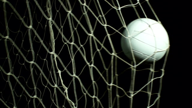 Super Slow Motion, White soccer ball, Football GOAL, Net Stock HD video clip footage of a Soccer ball / Football hitting the back of the goal - Filmed at 200fps Super slow motion scoring a goal stock videos & royalty-free footage