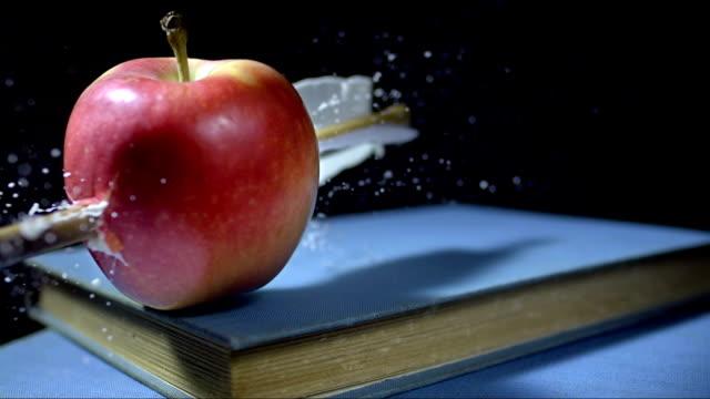 - super zeitlupe, hd: pfeil stabbing apple - zielscheibe stock-videos und b-roll-filmmaterial