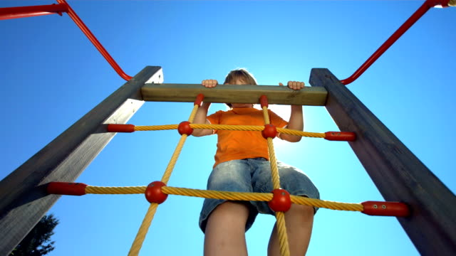 HD Super Slow-Mo: Boy Climbing On A Jungle Gym video