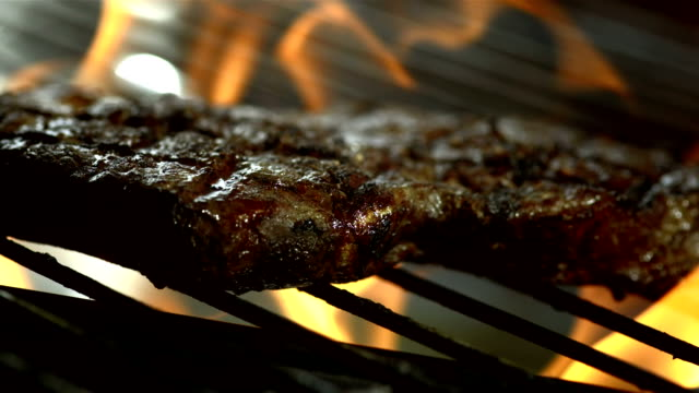HD Super Slow-Mo: Broiling Meat video