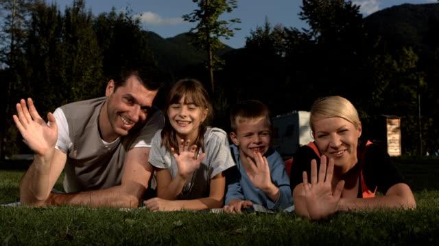 HD Super Slow-Mo: Family Waving At Camera video