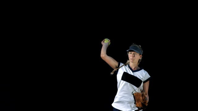 HD Super Slow-Mo: Female Player Pitching A Softball video