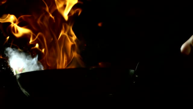 HD Super Slow-Mo: Flambeing Vegetables