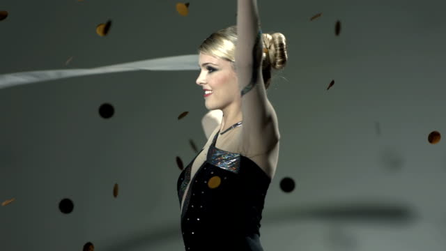 HD Super Slow-Mo: Gymnast Performing With A Ribbon video