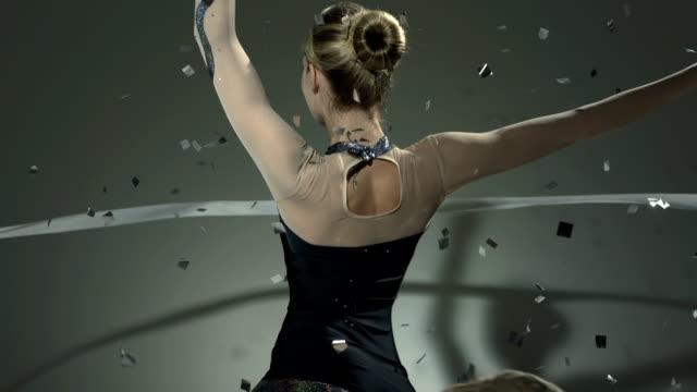 HD Super Slow-Mo: Gymnast Twirling With A Ribbon video