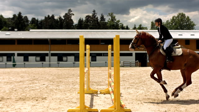 stockvideo's en b-roll-footage met hd super slow-mo: horse rider jumping over oxer - competitie